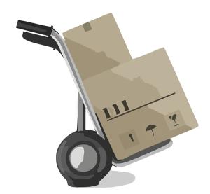 Paket und Lieferung eines Rasenmähers