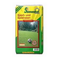 1 Kg Sonnenhof Rasensaat Spiel + Sport Robuster, schnell wachsender Zierrasen, ideal für stark beanspruchte Flächen.